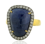 Uncut Ring 0.9 Rose Cut Natural Certified Diamond Sapphire 925 Sterling Silver Wedding